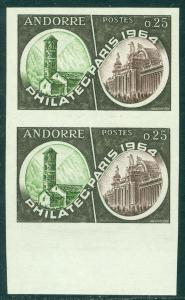 EDW1949SELL : FRENCH ANDORRA 1964 Scott #158 Imperforated pair. Very Fine, MNH.
