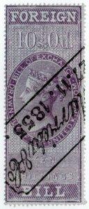 (I.B) QV Revenue : Foreign Bill 10/- (1854)