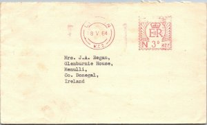 UK 1964 ERII postal meter stamp cover London > Menulli Ireland