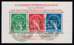 Germany-Berlin #9NB3a Currency Devaluation Souvenir Sheet; Used (4Stars)