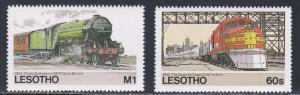 Lesotho # 456-457, Trains, High Values, NH, 1/3 Cat