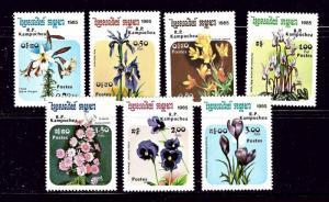Cambodia 596-602 MNH 1985 Flowers
