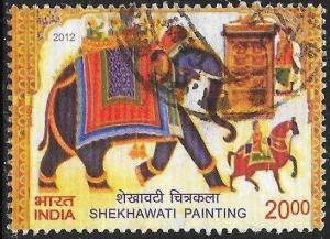 India 2581 Used - Shekhawati Painting - Elephant