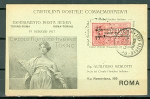 ITALY 1917 #C1 on COMMEMORATIVE HYDROPLANE CARD..VERY NICE