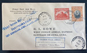 1928 Port Au France Haiti First Flight Cover To Spanish Antilles Pilot Signed