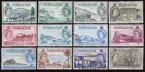 Gibraltar - Sc #132 - 143 (12), Used.  Short set.  2017 SCV $35.35.