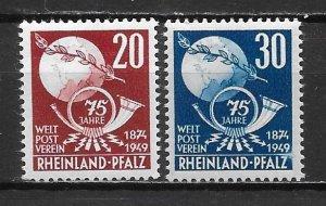 Germany Rhein-Palatinate 6N41-42 75th UPU set MNH (z1)