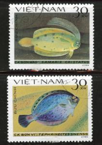 Vietnam  Scott 1235-1236 used Fish stamps