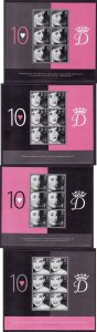Gibraltar-Sc#1072-5-four unused NH sheets-Prince Diana-2007-