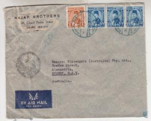 EGYPT, 1948 Airmail Censored cover, Cairo to Australia,1m., 22m.(3)