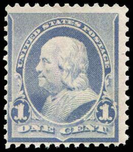 U.S. 219 MINT NO GUM 1¢ 1887 FRANKLIN SCV $35.00 As No Gum