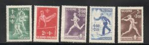 Finland Sc B69-73 1945 Sports charity stamp set mint