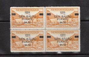 Newfoundland #C18 VF/NH Rare Block Of Four **With Certificate**