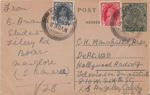 India 3p and 1a KGVI on 9p KGV Postal Card 1939 Mangalore to Los Angeles, Cal...