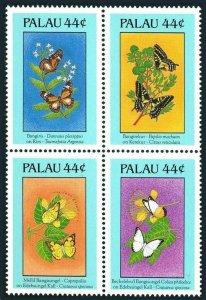 Palau 183-186a block,MNH.Michel 221-224. Butterflies and Flowers 1988.
