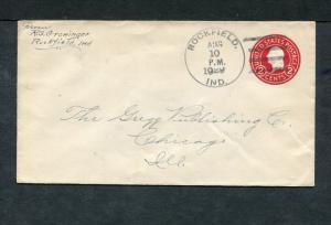 Postal History - Rockfield IN 1929 Black 4-bar Cancel Postal Stationery B0498