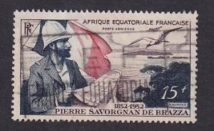 French Equatorial Africa   #C35  used 1951  Brazza holding map