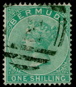 BERMUDA SG8, 1s Green Perf 14 WMK CC, FINE USED. Cat £70.