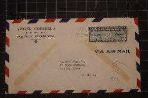 Angel Cobiella San Juan Puerto Rico 1/4/1940 10c #C7 airmail Map & Planes to Bos