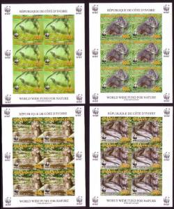 Ivory Coast WWF Speckle-throated Otter 4 imperforated Sheetlets of 6 stamps 6