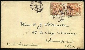 HAITI 1891 pair 5c on cover PORT AU PRINCE to Annapolis USA................22813
