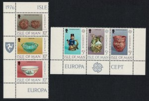Isle of Man Europa Ceramic Art 6v in strips with Margins 1976 MNH SC#86-91