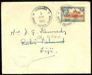 EDW1949SELL : SOLOMON ISLANDS Nice 1946 cover to Fiji. Scarce usage.