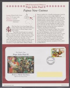 Official Tribute Stamps Pope John Paul II Papua New Guinea FDI  2005