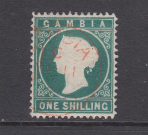 Gambia SG 19A used 1880 1sh Queen Victoria, Crown & CC watermark sideways, VF