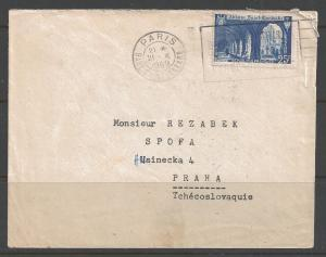 France - 1949 25f Abbey St. Wandrille, Paris to Czechoslovakia (21 X 1949)
