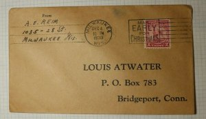 US Sc# 689 Used On Cover Business Reply Envelope Louis Atwater Milwaukee WI 1930
