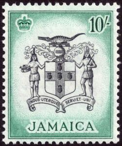 Jamaica 1956 10s Black & Blue-Green SG173 MLH