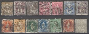 COLLECTION LOT # 3864 SWITZERLAND 14 STAMPS 1881+ CV+$26
