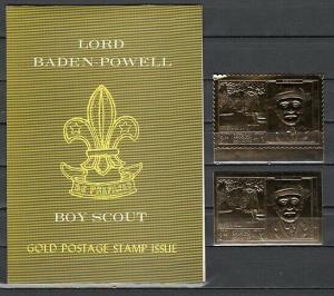 Ras Al Khaima, Mi cat. 295 A-B. Scout B. Powell, P & I Gold Foils. S/folder. ^