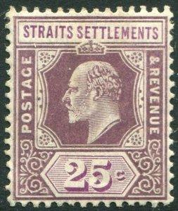 STRAITS SETTLEMENTS-1909 25c Dull & Bright Purple Sg 161 LMM V50195