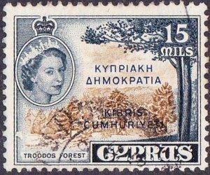 CYPRUS 1961 QEII 15m Brownish-Bistre & Deep Indigo SG192b Fine Used
