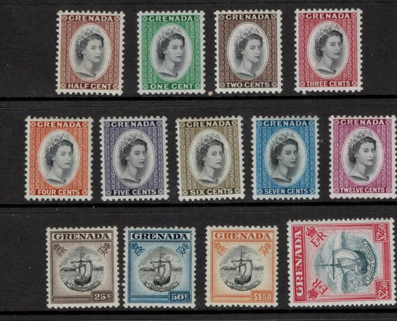 Grenada Stamp Set Scott #171 To 183 (171-83), Mint Hinged, From 1953-9 - Free...