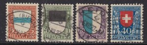 SWITZERLAND  ^^^^1922 sc# B21-B24   used  set SEMIS POSTALS $107.75@lar3824swiss