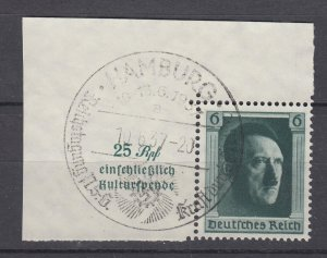 J28704, 1937 germany used #b102a hitler swastika cancel