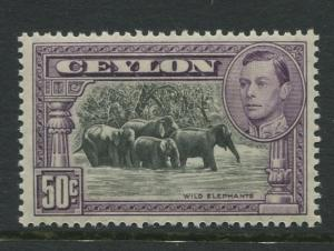 Ceylon -Scott 286d - KGVI Definitive Issue - 1938 - MVLH - Single 50c Stamp