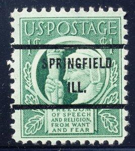 Springfield IL, 908-71 Bureau Precancel, 1¢ Four Freedoms