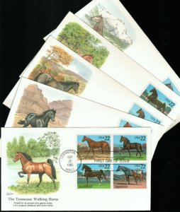 US 1985 Fleetwood Cachet FDC Horses Complete issue of 5,Sc # 2155-2158,2158a,