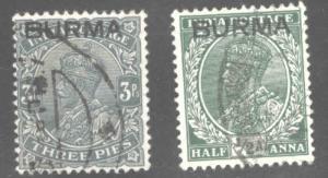 Burma Scott 1- 2 used stamps