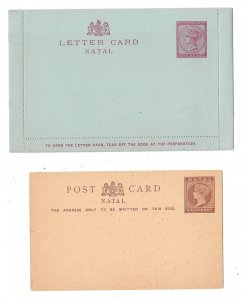 South Africa Natal Postal Stationery Card and Sealed Letter Card 1/2p QV 1p QV