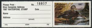 U.S.-KENTUCKY 3a, STATE DUCK HUNTING PERMIT STAMP WITH TAB. MINT, NH. VF