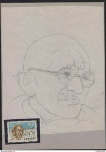 O)1969 URUGUAY,ORIGINAL ART WORK DESIGNES,MAHATMA GANDHI, TWO CERTIFICATES OF A