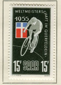 SAARLAND; 1955 early Cycling issue fine Mint hinged 15f. value
