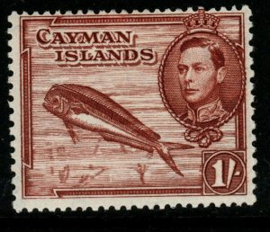 CAYMAN ISLANDS SG123a 1943 1/- RED BROWN MTD MINT