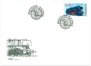 SLOVAKIA / 2015, (FDC) Technical Monuments: Albatros (Train, Locomotive), MNH