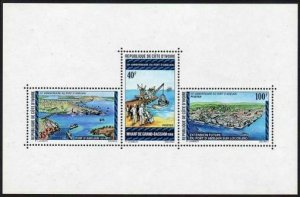 Ivory Coast 399 ac,MNH.Michel 473-475 Bl.5. Abidjan Harbor,Grand Bassam wharf,